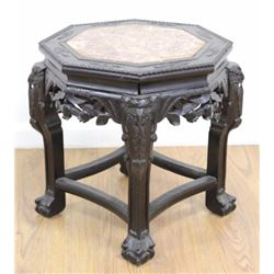 Octagonal Teakwood Marble Top Chinese Table