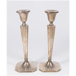 Pair B&M Sterling Silver Weighted Candlesticks