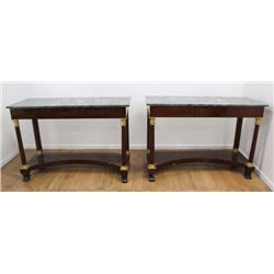 Pair Marble Top French Empire Pawfoot Consoles