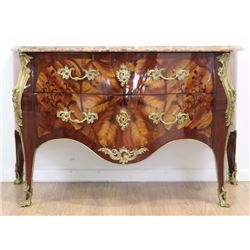 Louis XV Style Marquetry Inlaid Walnut Commode