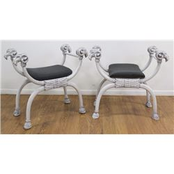 Pair White Paint Decorated Figural Benches
