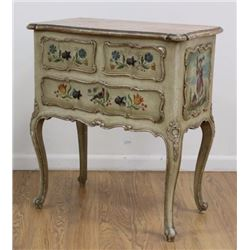 Paint Decorated Italian 2-Drawer Commode