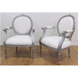 Pair Louis XVI Style Silver Painted Chairs