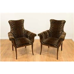 Pair Leopard Upholstered Fireside Chairs