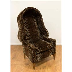 Unusual Hooded Leopard Upholstered Chair