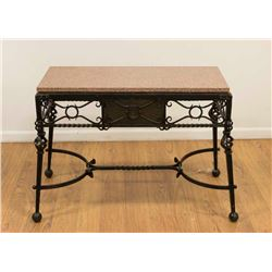 Rouge Marble Top Iron Table