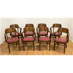Set 8 Round Back Oak Courthouse Chairs