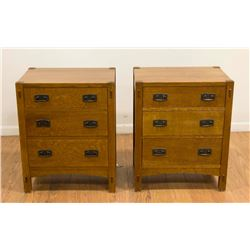 Pair Stickley Mission Oak 3-Drawer Chests