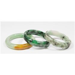 Carved Chinese Jade Bangle & 2 Chinese Bangles