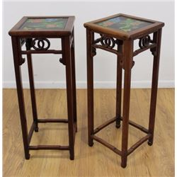 Pair Chinese Hardwood Stands with Lacquer Tops