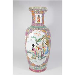 Rose Medallion Chinese Porcelain 2-Panel Vase