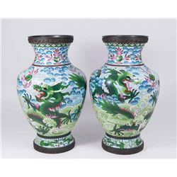 Pair Cloisonné Vases with Dragons