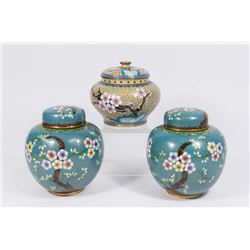 Pair Chinese Cloisonné Ginger Jars & Single Jar