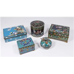 5 Chinese Cloisonné Boxes