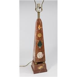 Obelisk Marble Lamp with Inset Stones