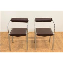 Pair Nikson Faux Brown Leather & Chrome Armchairs