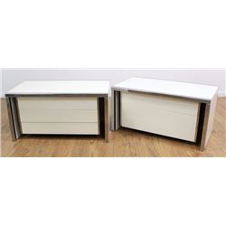 Pair Modern Chrome & Lacquer Side Low Cabinets