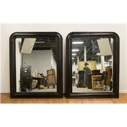 Pair Large Leather on Wood Framed Mirrors