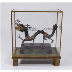 Chinese Silver & Enamel Filigree Dragon