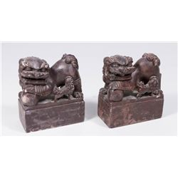 Pair Carved Stone Foo Dog Bookends