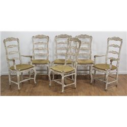 6 Ladder Back Country French Chairs
