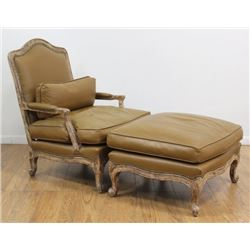 Country French Leather Upholstered Arm Chair