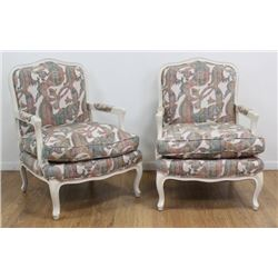 Pair Country French Off-White Open Armchairs