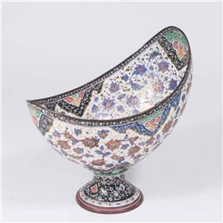 Persian Enameled Metal Bowl