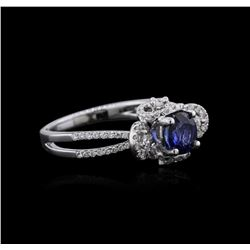 18KT White Gold 0.73 ctw Sapphire and Diamond Ring