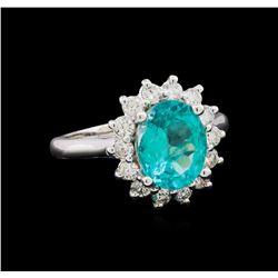 2.63 ctw Apatite and Diamond Ring - 14KT White Gold