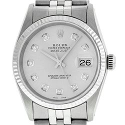Rolex Mens 36mm Stainless Steel Silver Diamond Datejust Wristwatch