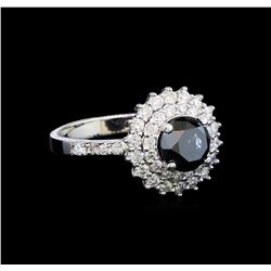 2.10 ctw Black and White Diamond Ring - 14KT White Gold
