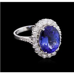 5.89 ctw Tanzanite and Diamond Ring - 14K White Gold