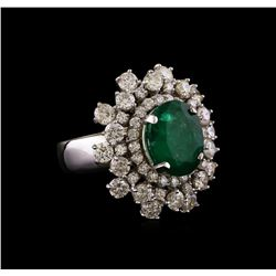 14KT White Gold 3.08 ctw Emerald and Diamond Ring