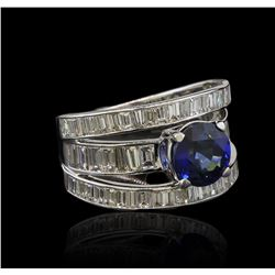 2.31 ctw Sapphire and Diamond Ring - 14KT White Gold