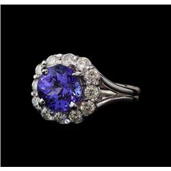 33.9 ctw Tanzanite and Diamond Ring - 14KT White Gold