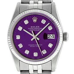 Rolex Mens 36mm Stainless Steel Purple Diamond Datejust Wristwatch