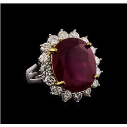 14KT White Gold 13.74 ctw Ruby and Diamond Ring