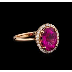 14KT Rose Gold 2.95 ctw Tourmaline and Diamond Ring