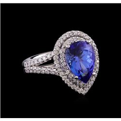 14KT White Gold 3.89 ctw Tanzanite and Diamond Ring