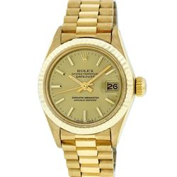 Ladies Rolex 18K Yellow Gold President Wristwatch