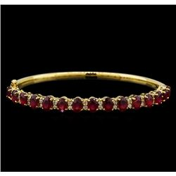 14KT Yellow Gold 7.95 ctw Rubies and Diamond Bangle Bracelet