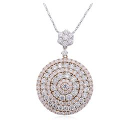 14KT Two-Tone Gold 4.80 ctw Diamond Pendant With Chain