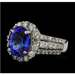 3.57 ctw Tanzanite and Diamond Ring - 14KT White Gold
