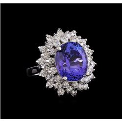 8.26 ctw Tanzanite and Diamond Ring - 14KT White Gold