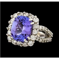5.34 ctw Tanzanite and Diamond Ring - 14KT White Gold