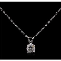 0.71 ctw Diamond Pendant With Chain - 14KT White Gold