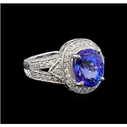 14KT White Gold 3.72 ctw Tanzanite and Diamond Ring