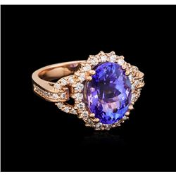 7.10 ctw Tanzanite and Diamond Ring - 14KT Rose Gold