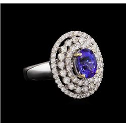 18KT White Gold 2.42 ctw Tanzanite and Diamond Ring